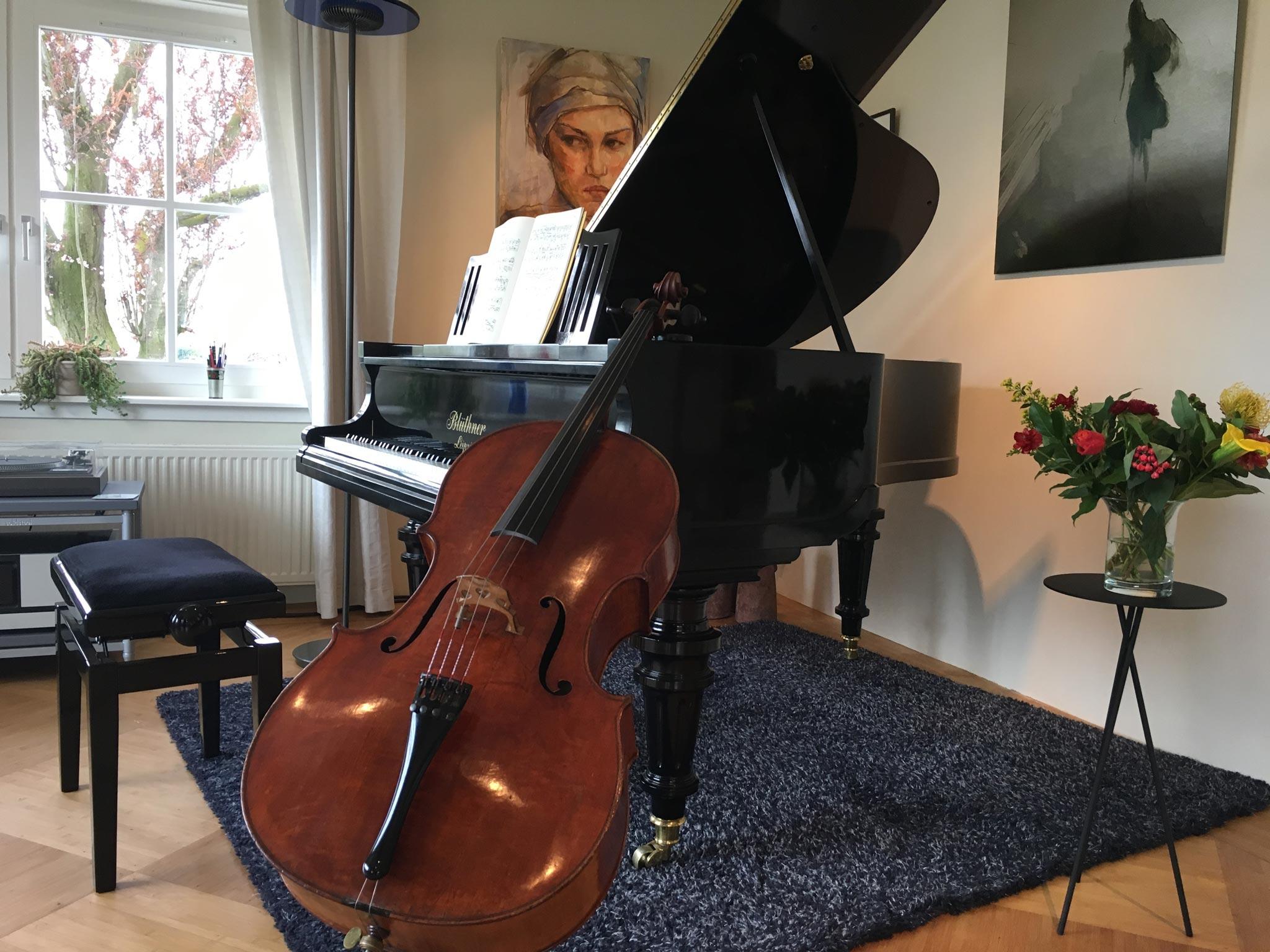 Cello en piano huiskamer